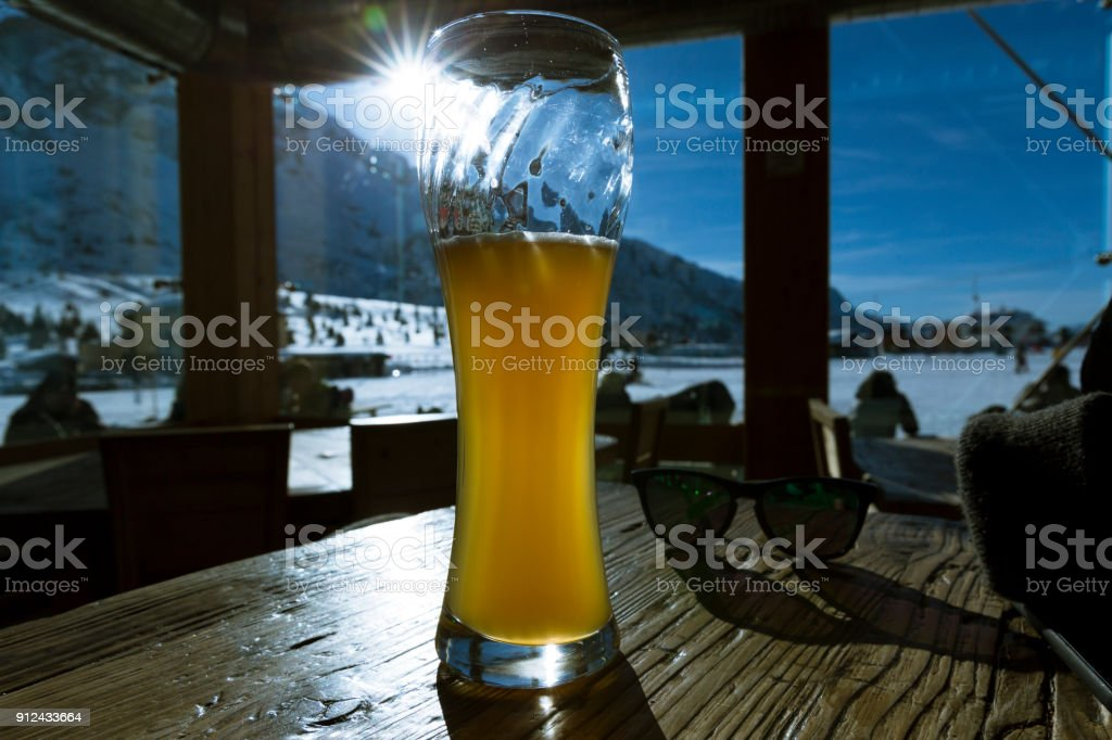beer in italy alps at a bar stock photo