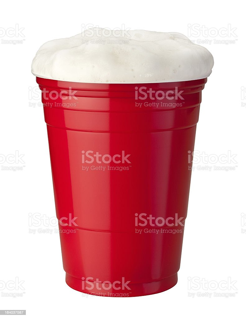 Beer in Plastic Cup stock photo