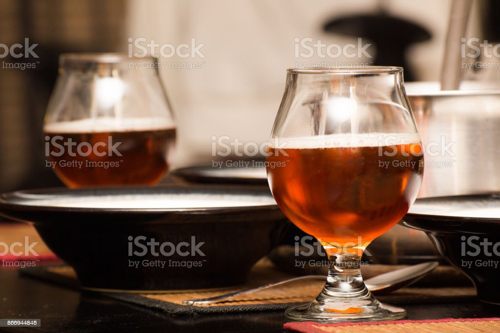 Beer in Scooners on Table stock photo