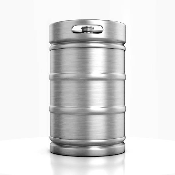 beer keg isolated on white - barrel stock pictures, royalty-free photos & images
