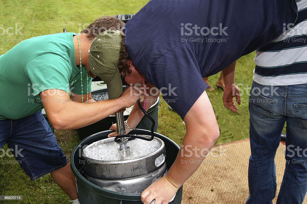 Beer keg stand stock photo