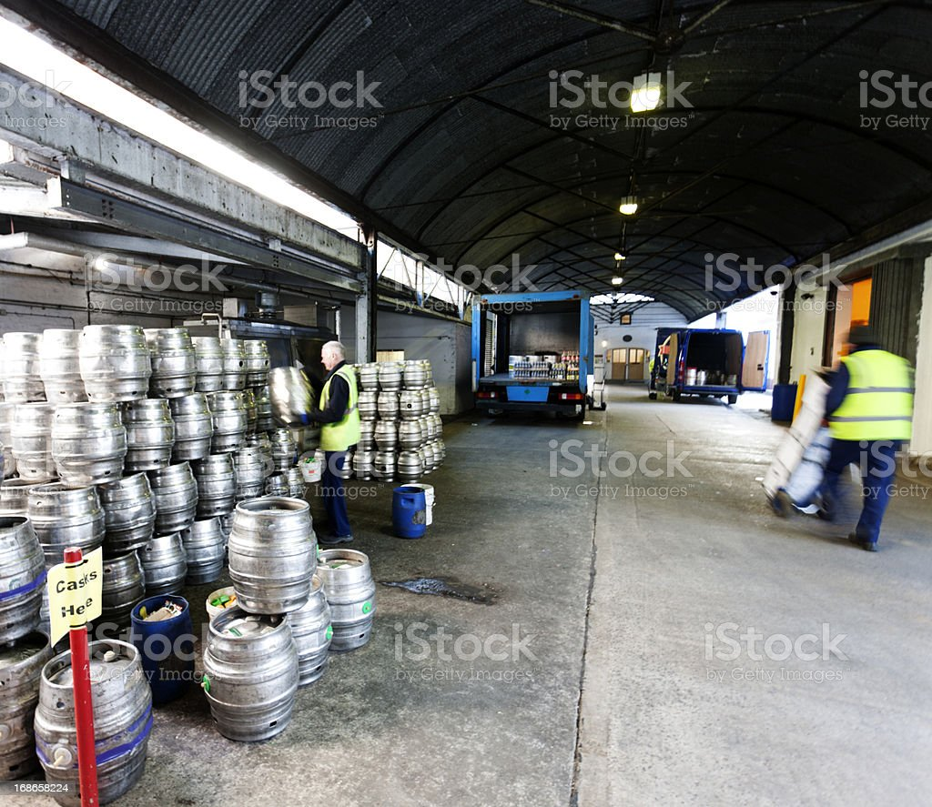 Beer kegs in a distribution warehouse stock photo