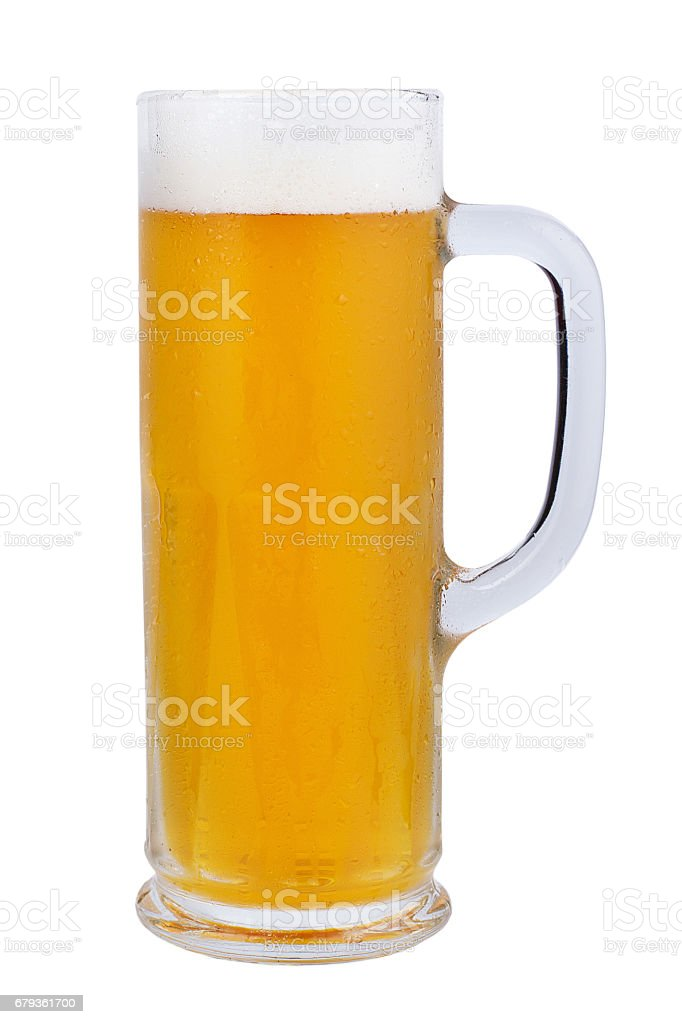 A beer mug of classic light beer. Refreshing light beer on a white background. Toby jug. royalty-free stock photo