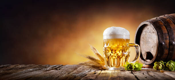 beer mug with wheat and hops in cellar with barrel - oktoberfest stock photos and pictures