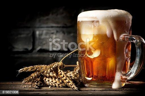 istock Beer near brick wall 519321008
