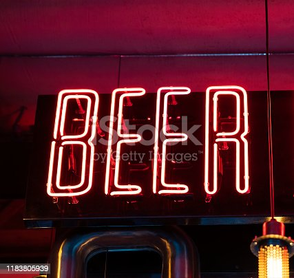 1140718043 istock photo Beer neon. Glowing lettering beer sign for bar, pub, restaurant, club 1183805939