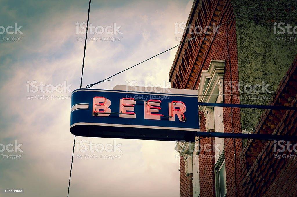 Beer Neon Sign stock photo