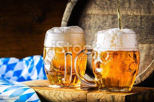 istock Beer. Oktoberfest.Two cold beers. Draft beer. Draft ale. 588604776