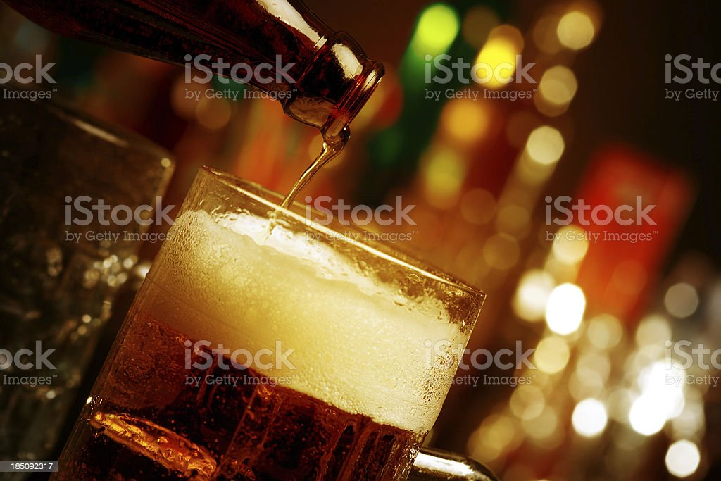 Beer on a bar counter royalty-free stock photo