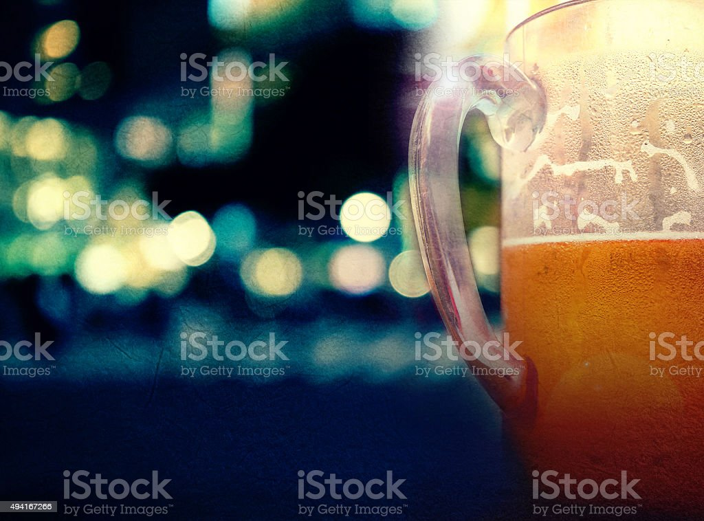 beer on keg or barrel of beer background stock photo