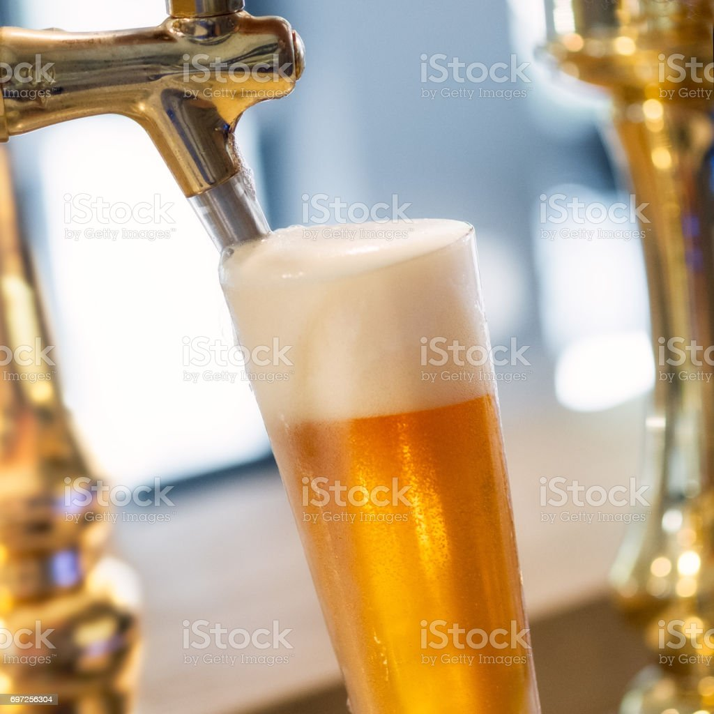 Beer on tap stock photo
