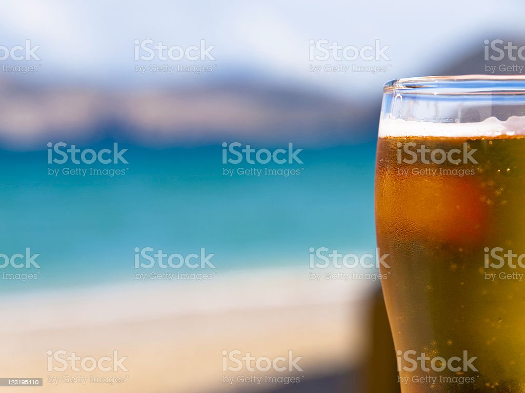 Beer on the beach royalty-free stock photo