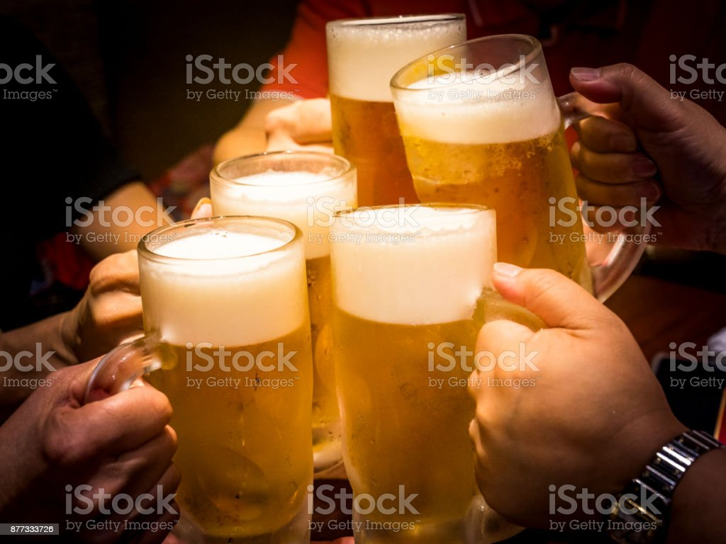 Beer party after working. stock photo