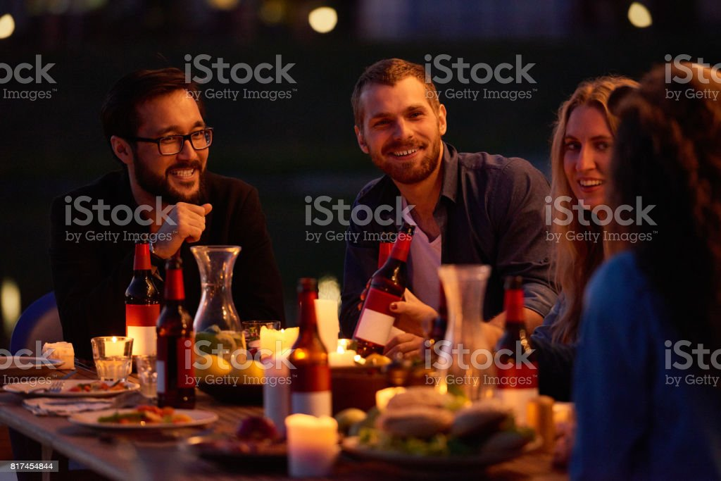 Beer party outdoors stock photo