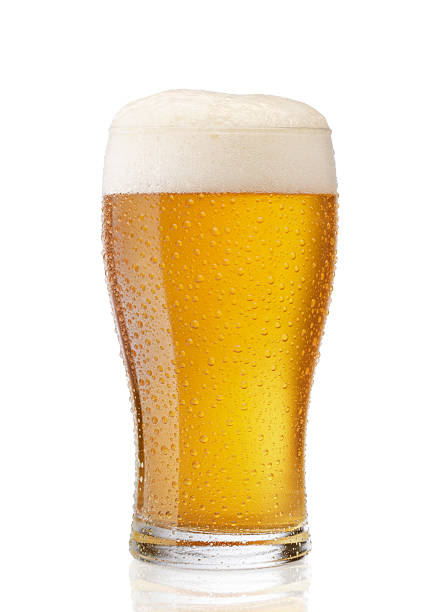 beer glass of cold beer isolated on white beer glass stock pictures, royalty-free photos & images