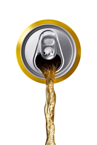 can of beer being poured, front view