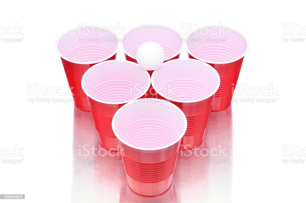 Beer Pong Cups and Ball stock photo