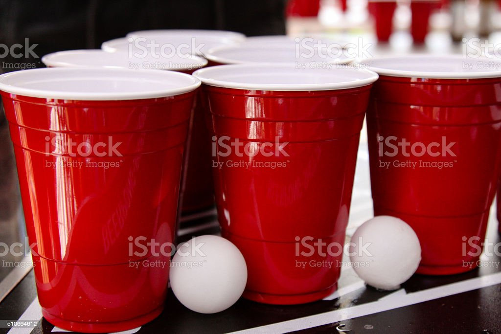 Beer Pong Party Cups in Red stock photo