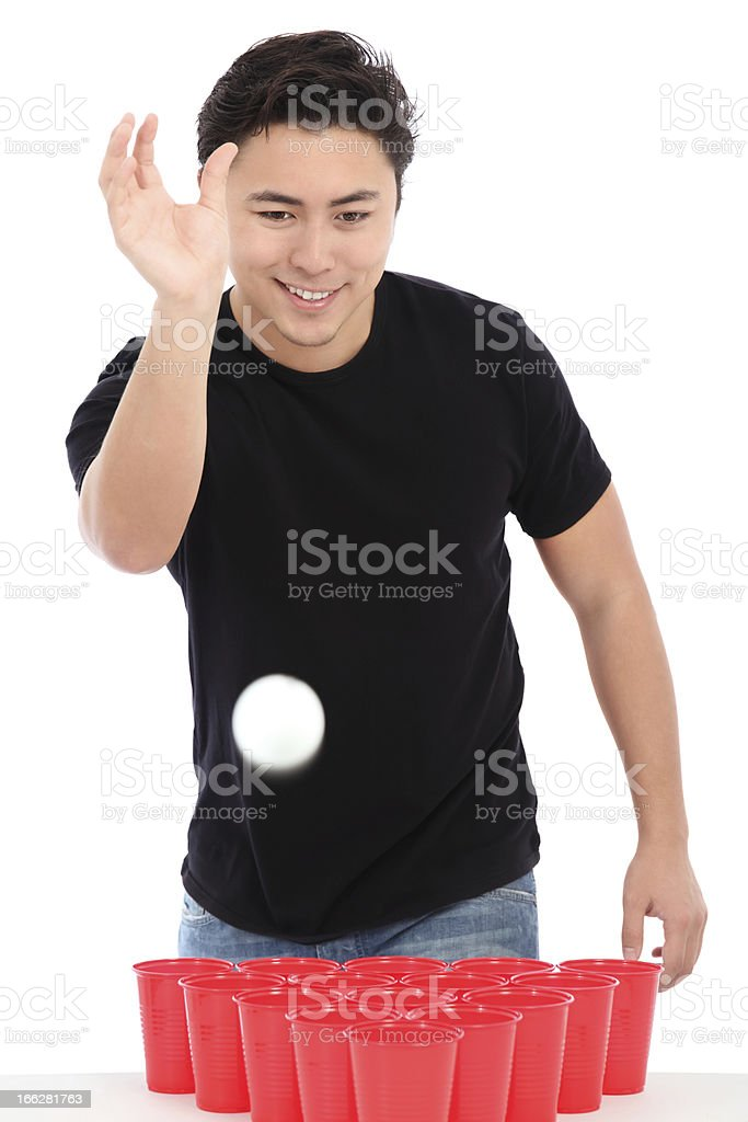 Beer pong player stock photo