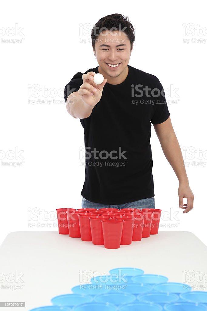 Cerveja-pongue player - foto de acervo