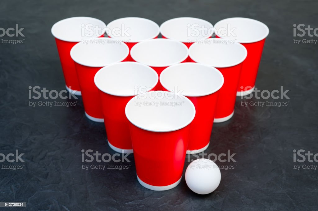 Beer pong. Popular game at parties. Place for your text. stock photo