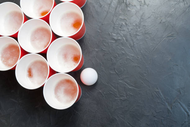 beer pong. popular game at parties. place for your text. - beirut foto e immagini stock