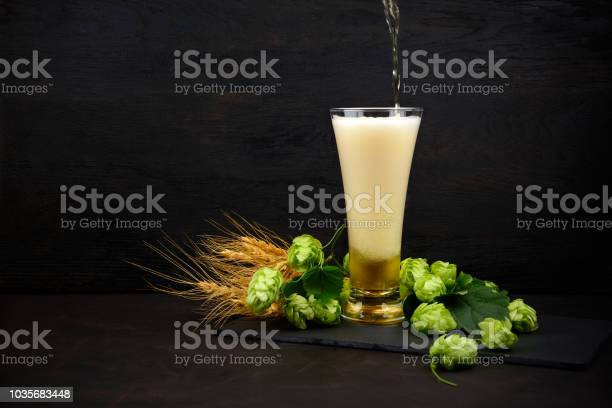 Photo of Beer pouring into a glass. Glass of beer with green hops and wheat ears on dark wooden table. Still life