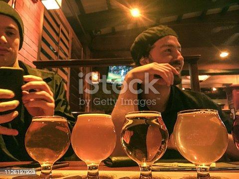 Twin brothers enjoying being 21 and sampling beer. San Diego, California.