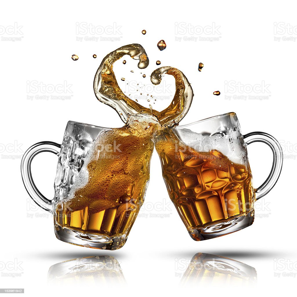 Beer splash in shape of heart isolated on white royalty-free stock photo