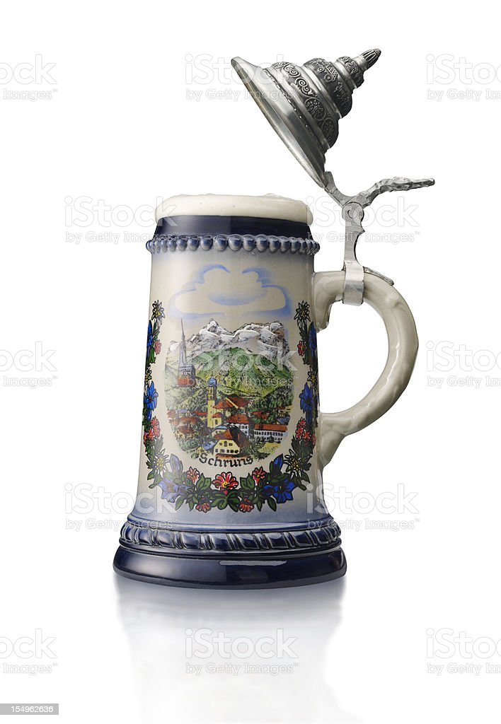 Beer Stein on White Background stock photo