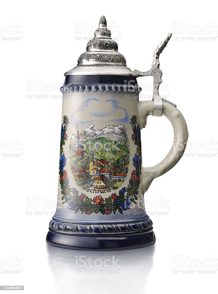 Beer stein on white stock photo