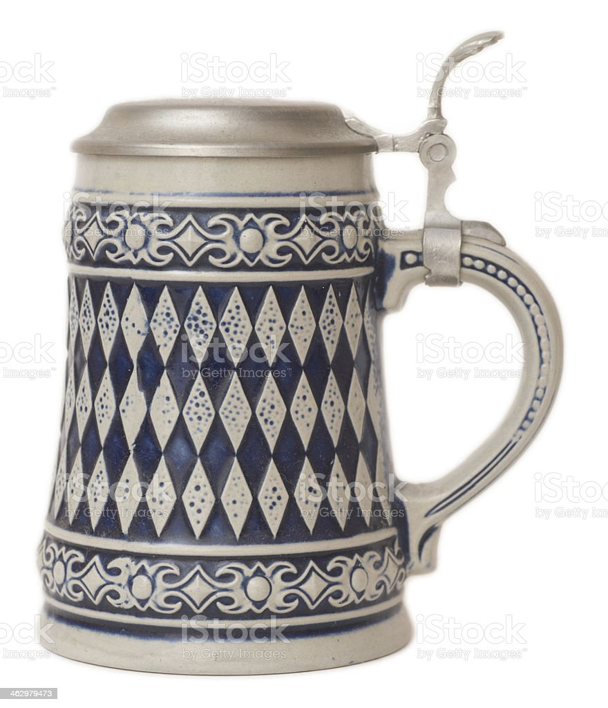 Beer Stein with bavarian pattern isolated on white stock photo