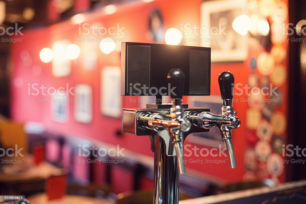 Beer Tap in a Pub stock photo