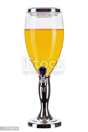beer tower isolated on white background. alcoholic drink for a large company. file contains clipping path