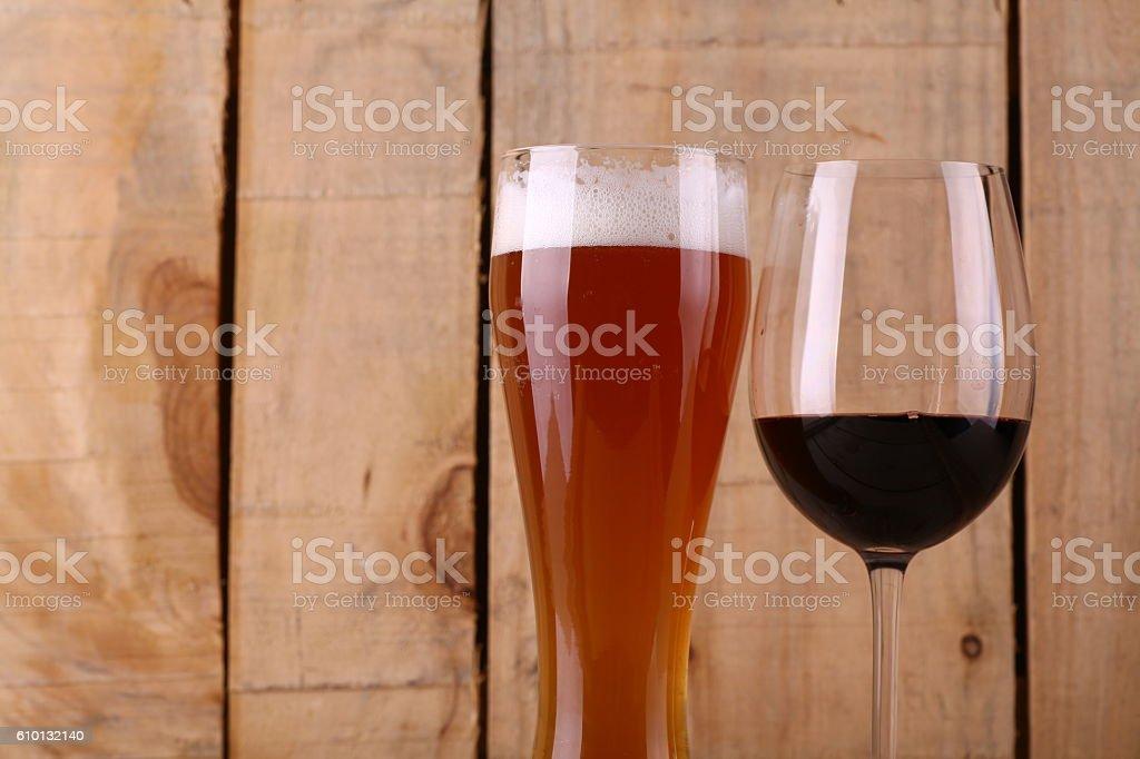 Beer versus wine stock photo