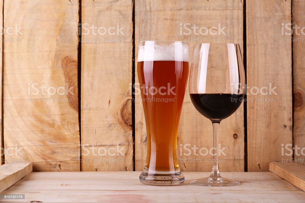 Beer versus wine stock photo