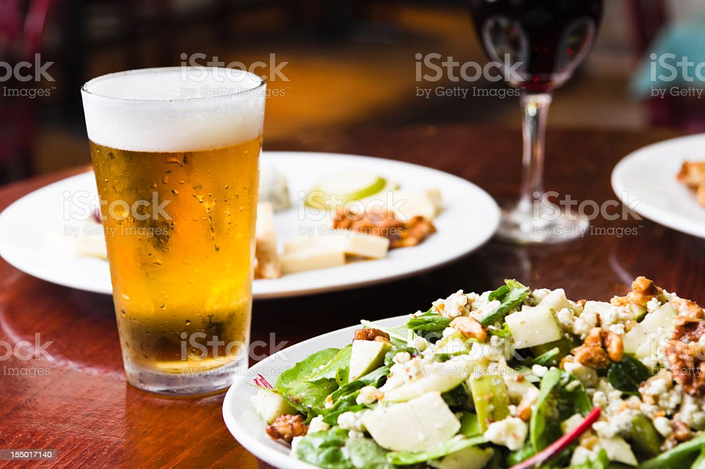 Beer Wine Saladsand Appetizer royalty-free stock photo