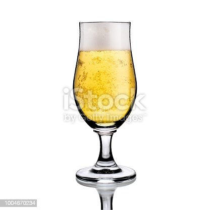 1144550840 istock photo Beer wineglass goblet with white foam and bubbles, isolated on white with reflections 1004670234