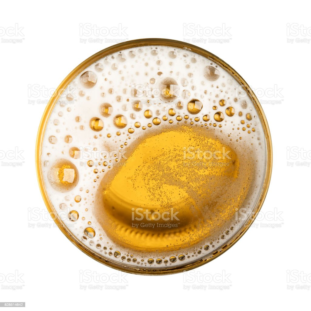Beer with bubble on glass circle isolated on white background top view stock photo