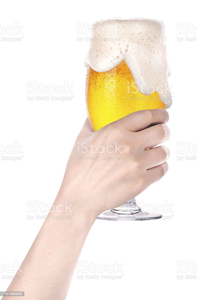 beer with hand making toast stock photo