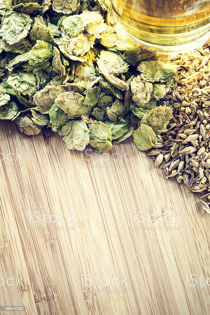 Beer with Organic Hops and Malted Barley stock photo