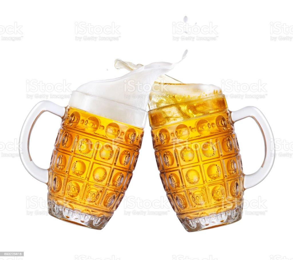 cerveza con splash - foto de stock