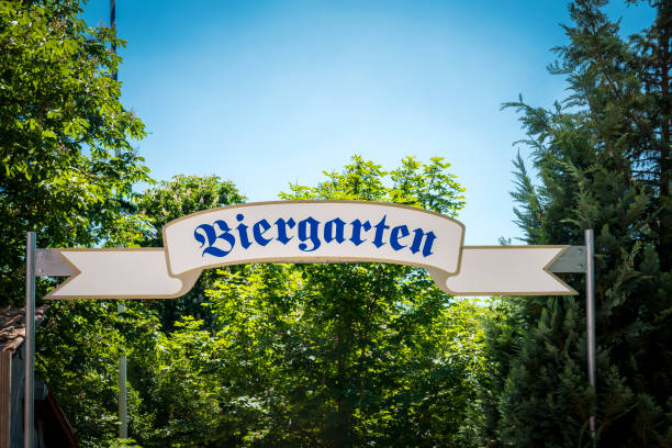 beergarden in bavaria stock photo