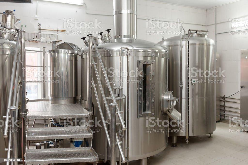 Beer-making tanks, small capacity brewery stock photo
