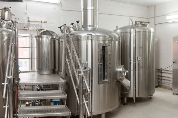 Beer-making tanks, small capacity brewery stock photo