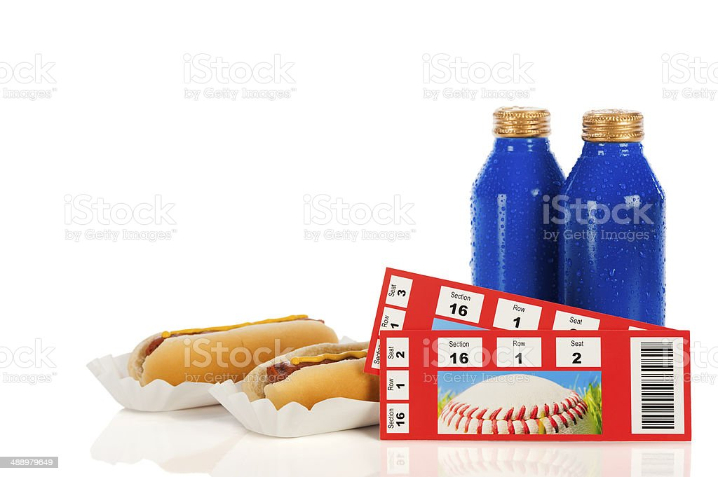 Beers, Hot Dogs and Baseball Tickets stock photo