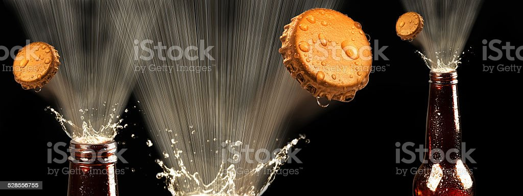Beers Popping. stock photo