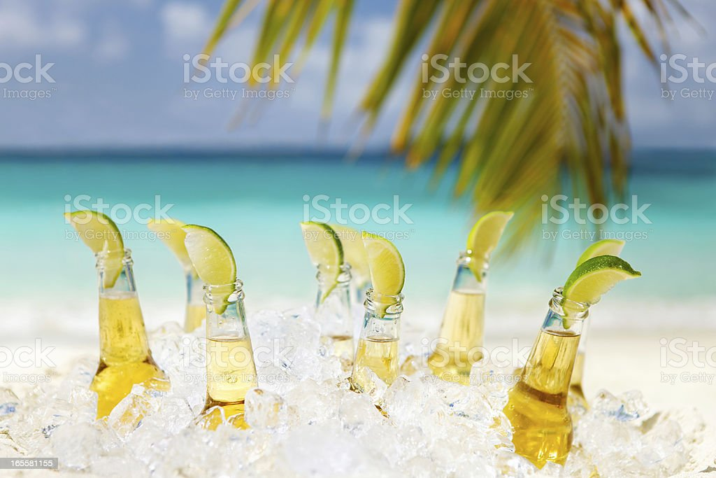 beers with limes under the palm tree on a beach stock photo