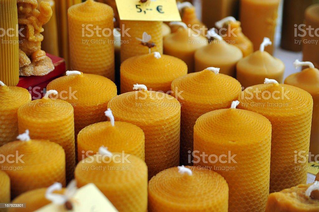bees wax candles - Bienenwachskerzen stok fotoğrafı