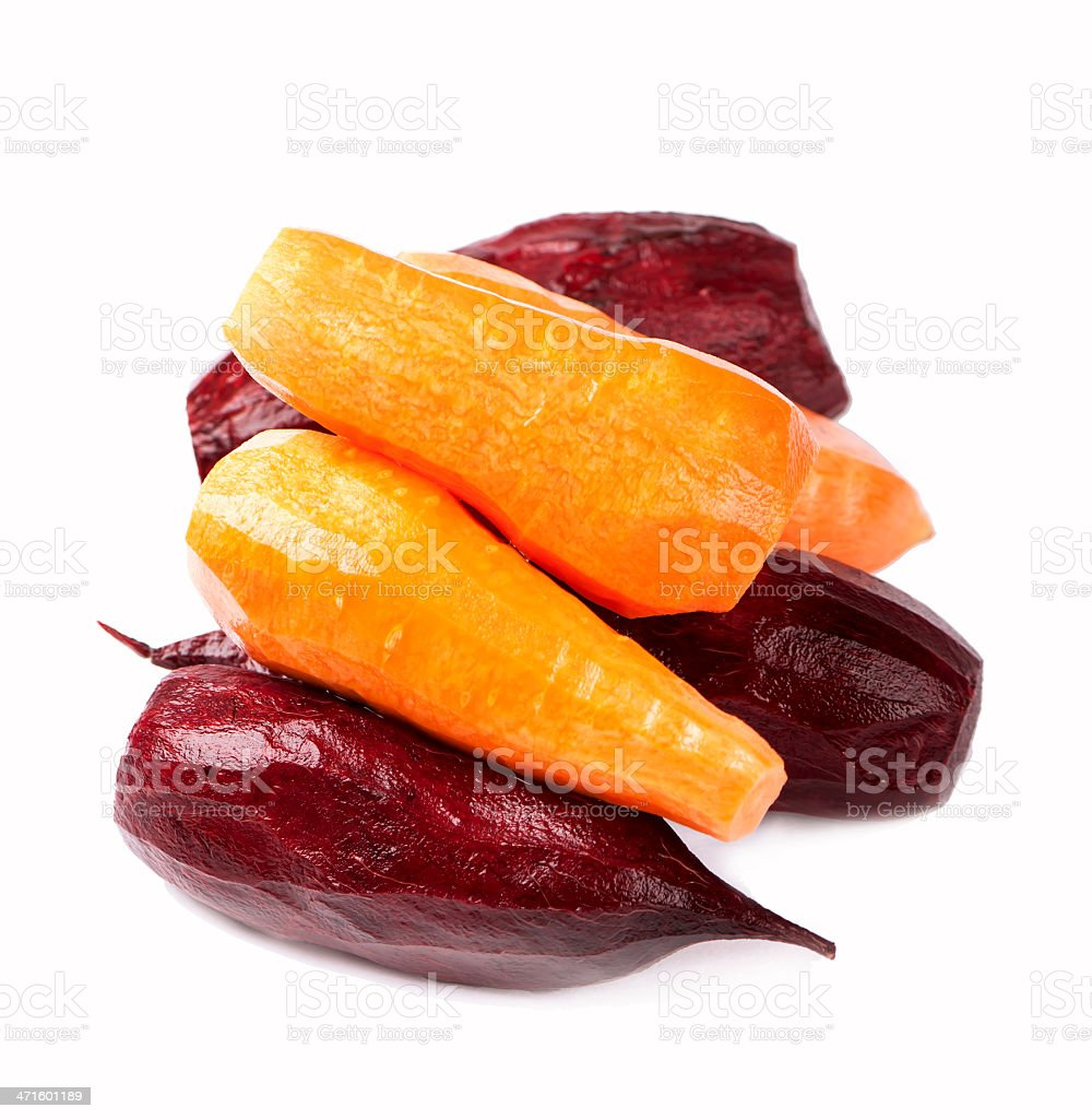 beet and the carrots peeled of a peel royalty-free stock photo